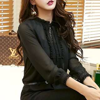 Pleated lace chiffon blouse shirt top office lady wear with slip