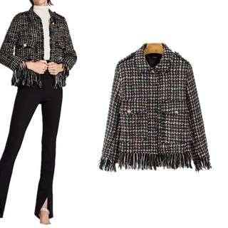 2018 fashion soft tassel lapel short jacket women's jacket coat