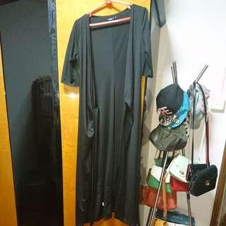 Black long wrap dress