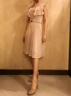 H&M Nude Ruffle midi Dress