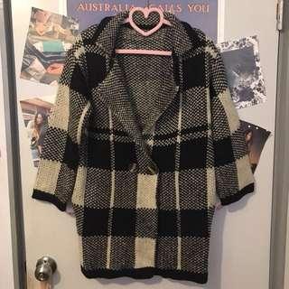 🚚 黑白格紋針織外套