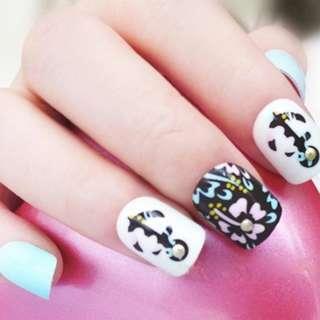 24pcs/set False Nails 3D Flower Fashion Cute uhas postizas Plastic Art Short Fake Nail Tips Stud Decoration Chrismas Design