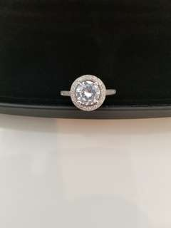 Silver Halo Engagement Ring 2.5 carats.