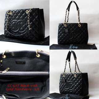 Chanel GST Black Caviar with Gold Hardware