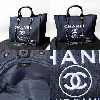Chanel Deauville Tote Dark Blue