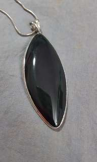 Large Genuine Onyx Crystal Pendant 925 Silver with long necklace to wear to rid negativity, stress and protection benefits