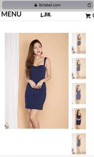 LBRlabel Ivylia Sweetheart Bustier Dress in Navy