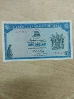 Rhodesia one 1 dollar 1974 issue