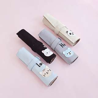 [NEW] Cat Bear Panda Roll Up Pencil Case