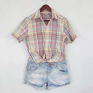 90's Style UNIQLO Colorful Checkered Polo Shirt