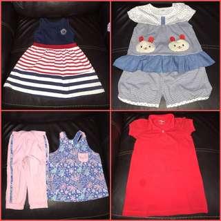 Super sulit babies apparel set (red dress - justees, skater dress - b.b.club, bear terno, flowery pink terno - crib couture)