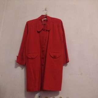 🚚 紅色毛料長外套