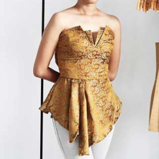 The Merkin Bustier Top Batik Gold