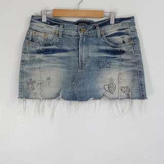 90's Graphic Fringed Bottom Mini Skirt