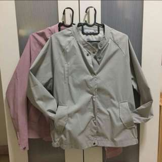 Grey button down bomber jacket