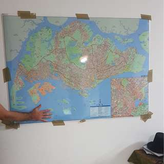 Huge Laminated Map of Singapore