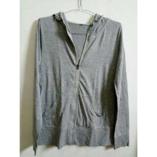 Grey Cotton Hoodie with Zip
