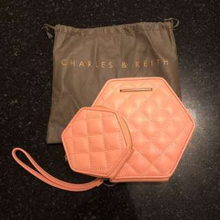 Charles & Keith Hexagonal Clutch & Coin Bag Set