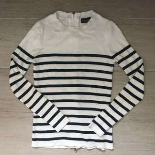[Topshop] classic stripe cardigan / sweatshirt with zip up details at the back