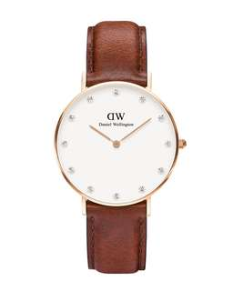 Daniel Wellington Watch 34mm diamond face st Maves brown