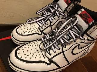 Sneaker custom Nike Air Jordan 1, Pop art cartoon, 'Joshua Vides' style