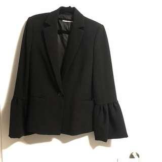 MANGO Volante Suit Jacket (Size S, Black)