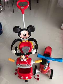 Mickey bicycle, Little tikes scooter