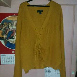 ❗BUNDLE❗F21 mustard yellow lace up sweater and maroon boots.