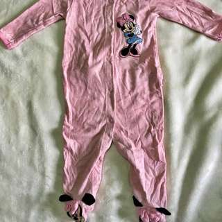 Minnie Mouse Footed Onesie