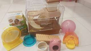 Hamster accessories and cage