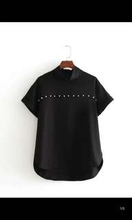 Europe and the United States new slim thin pearl decorative shirt short-sleeved black shirt