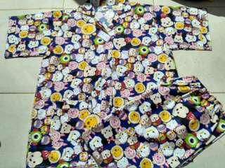 Pyama /baju tidur motif tsum-tsum
