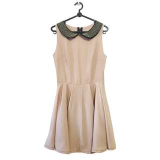 New Look Stud Collar Skater Dress in Blush UK 8 (Premium) (U.P. $59.90)