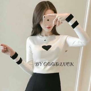 Heart knit long sleeves top