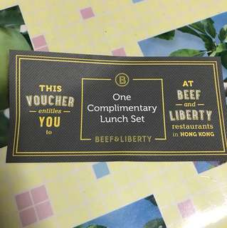 Beef & Liberty Voucher - one complimentary lunch set