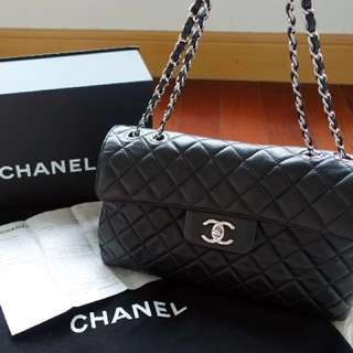 真品 近全新有單原包裝Chanel quilted CC logo 2 ways bag full set