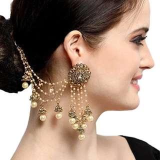 Gold-Plated Long Chain Jhumki Earrings (PRE-ORDER)