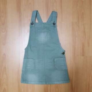 Mothercare Olive Green Denim Overalls Dress