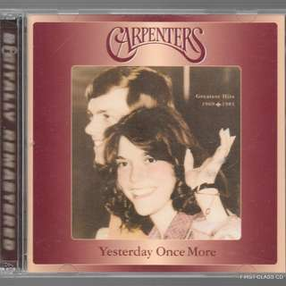MY PRELOVED CD - THE CARPENTERS - YESTERDAY ONCE MORE  - GREATEST HIT FROM 1968 TO 1982 / FREE DELIVERY (F7A)