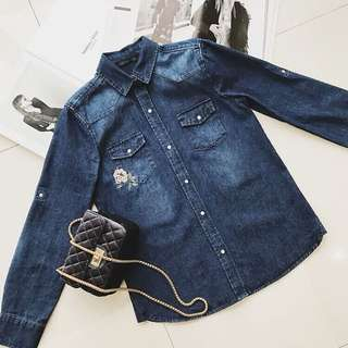 Denim Shirt with Emboidery
