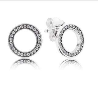 Pandora Sliver Stud Earrings With Cubic Zirconia