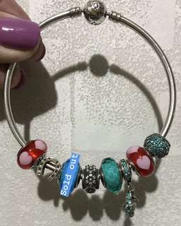 Pandora Bangle charm 心心 海馬 藍色 soufeel