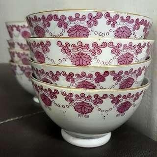 Vintage Pink Chrysanthemum Porcelain Rice Bowls