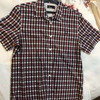 Fred Perry Short Sleeve Shirt Size L.
