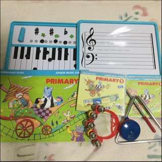 Yamaha Junior Music Course (JMC) Pri 1 CD, DVD, Magnetic board & Percussion set