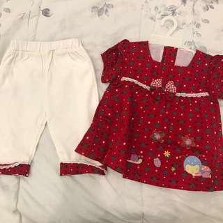 Atasan dan celana baby red