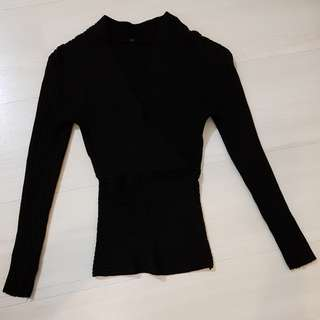Black Long Sleeve knitted Top