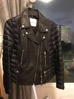 Moncler Leather Down Jacket機車羽絨服
