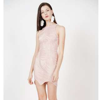 """Elegant Yet Sexy Embriodered Lace Dress In Pink. Worn once for CNY only❗️in excellent condition❗️for size S (31""""x 26""""x 36"""", 35"""") bust x waist x hips x length. Bought at $45.90. Selling $30"""