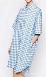 Monki Oversized Gingham Shirt Dress